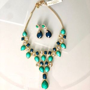 Turquoise & Lapis Earring & Necklace Set